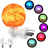 Salt Lamp Natural Himalayan Crystal Rock Salt Light Mini Hand Carved Night Light with UL-Approved Wall Plug Incandescent Bulb and Multi Color LED Changing Bulb for Home, Bedroom, Air Purifying Sphere