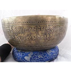 "Mantra Carved 10"" Crown B Chakra Tibetan Bowls, Beaten Hammered Singing Bowls, Hand Carving, Nepal with Cushion & Striker"