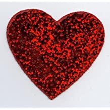 """Valentine Large 2"""" Red Sequin Heart Iron on Embroidered Patch"""