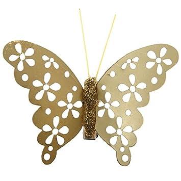 Pinza de depilar 4 unidades, diseño de mariposa y metalizada, color dorado: Amazon.es: Hogar