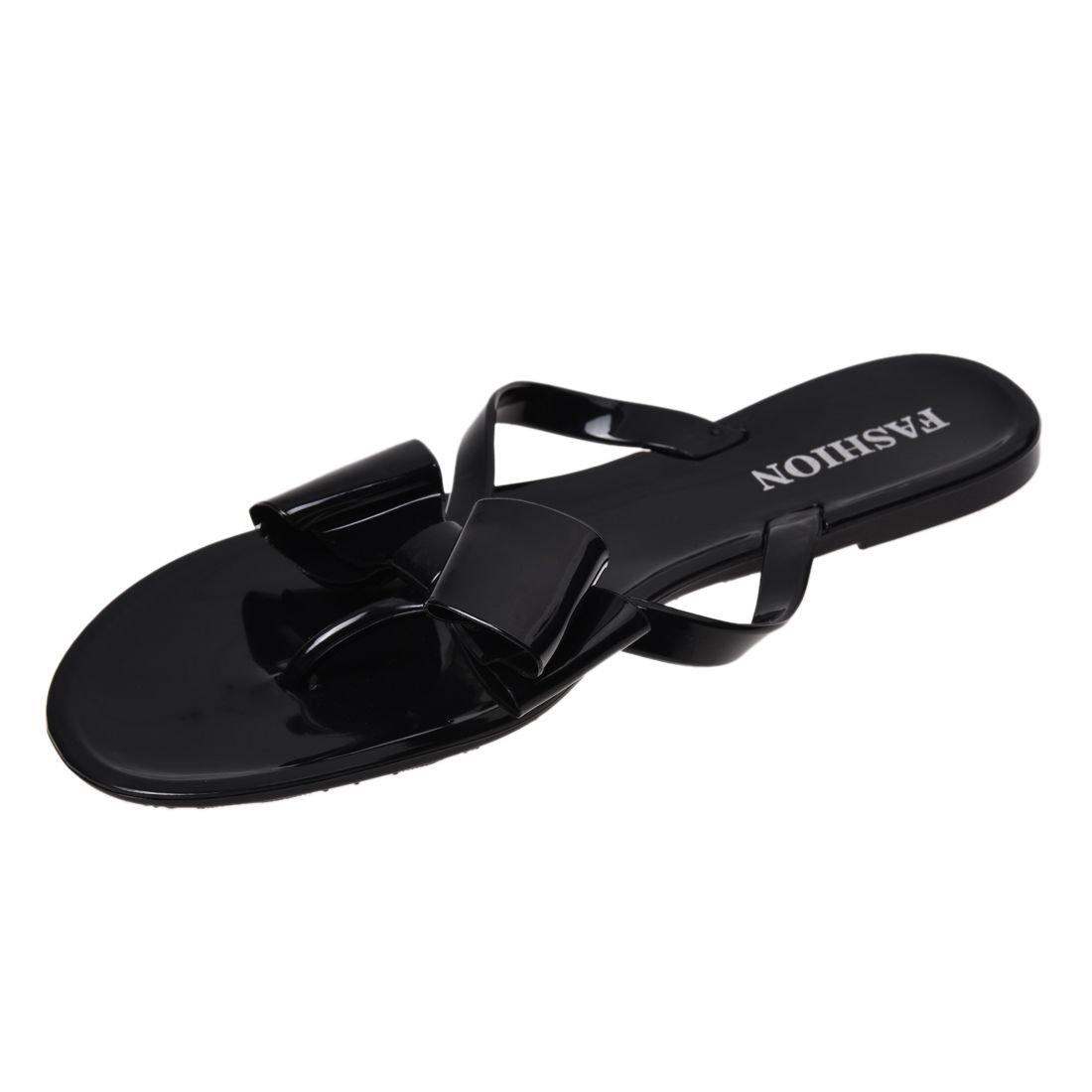 4486a6c0209b TOOGOO(R) Women s Sandals Summer Beach fashion women s bow flat heel flip  flops beach slippers flip female shoes size6 black  Amazon.co.uk  Shoes    Bags