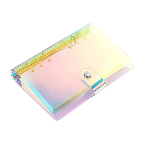 A6 Standard 6 Ring Notebook Rainbow Holographic Transparent Soft