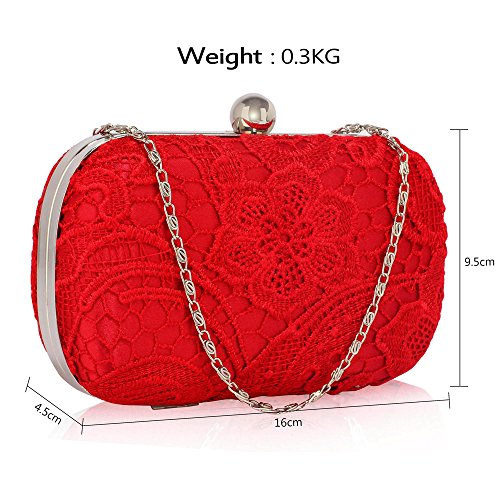 Designer With New Chain Box 1 Red Bag Design Women Evening Handbag Clutch For Ladies HardCase Lace zPxv7Tv