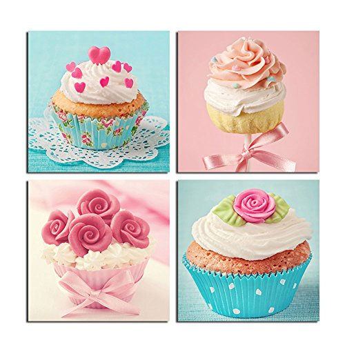 TONZOM Canvas Wall Art Waterproof painting Cupcake Cream Background Wall Stretched and Framed Ready to Hang For Cafes, bars, Decoration Print
