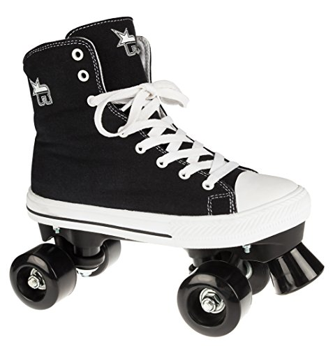 Rookie Canvas High Roller Skates with 4 Wheels, Unisex Children, Canvas High, Black, 34 (Rookie Canvas)