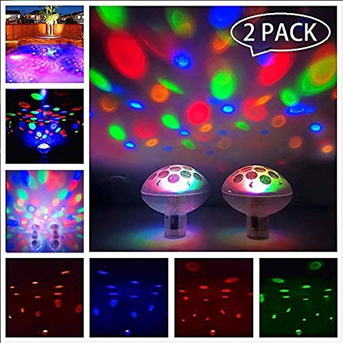 LPHSNR 2 Pack Waterproof Floating Swimming Pool Lights, Baby Bath Toys Lights for Hot Tub, Colorful LED Bathtub Lights Disco Ball Experience Fun for Pond or Pool Party Decoration from (Led Floats Pool)