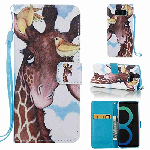 Tikeda-Galaxy S8/S8 Plus Beauty Leather Wallet Case Cover & Credit Card Holders For Samsung Galaxy S8/Galaxy S8 Plus With Hand Strap-2017 New (S8, Sika deer)