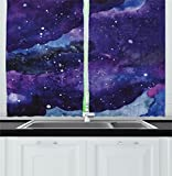 Ambesonne Outer Space Kitchen Curtains by, Starry Night Sky Paint Strokes Galaxy Cosmic Universe Theme, Window Drapes 2 Panels Set for Kitchen Cafe, 55W X 39L Inches, Navy Blue Light Blue Purple Review