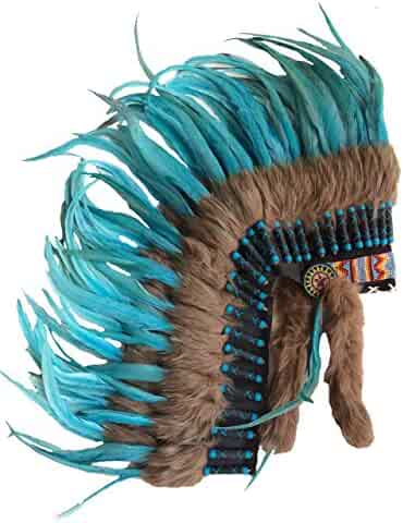 dd67e9ab Medium Full Turquoise Rooster Feather Headdress | Native American Indian  Inspired