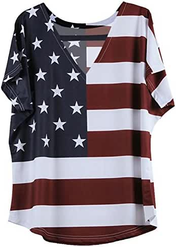 OMONSIM Fourth Of July T shirt Patriotic T-Shirt American Flag T Shirt Independence Day Tee …