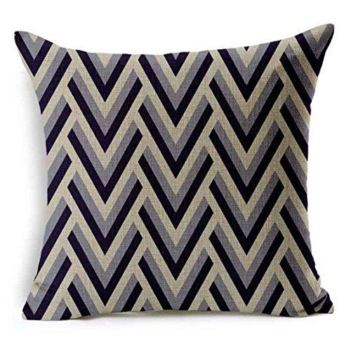 Price comparison product image Nation Decorative Geometry Cotton Linen Pillow Case Sofa Throw Cushion Cover (A)
