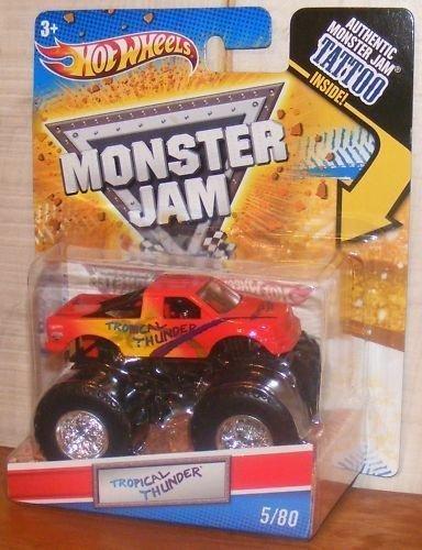2011 Hot Wheels Monster Jam #5/80 TROPICAL THUNDER 1:64 Scale Collectible Truck with Monster Jam - Truck 5 Scale 1