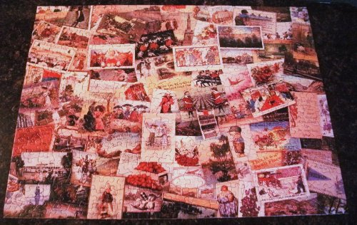 VINTAGE SPRINGBOK / HALLMARK CARDS 500 PIECE PUZZLE 18 IN. BY 23.5 IN TITLED [ WISH YOU WERE HERE / HOW I SPENT MY SUMMER VACATION. VINTAGE POST CARD COLLECTION PICTURE .