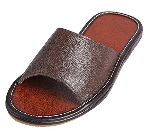 Cattior Mens Estate Open Toe Pantofole In Pelle Coperta Pantofola Allaperto Marrone
