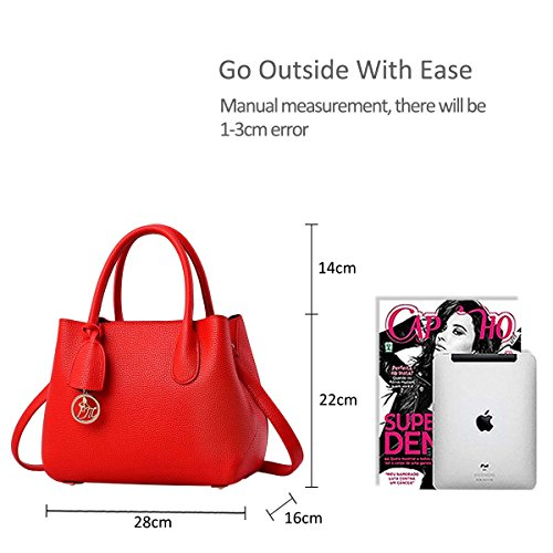 Shoulder Satchel bolso Bolsa amp;DORIS NICOLE casual Boutique Rojo Modern Stylish de Purse trabajo Messenger Tote Top Mujeres rojo Handle z0awSpq
