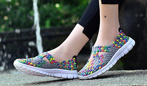 VECJUNIA Damen Elastischer Slip Auf Atmungsaktiv Bequem Handgefertigt Leichtgewicht Gewebte Sport Wasser Schuhe Grau