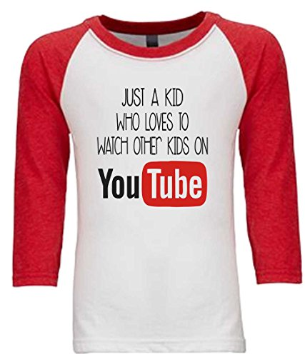 ' Just A Kid Who Loves To Watch Other Kids On Youtube ' Funny T-Shirt (Youth Small, White/Red Raglan)
