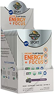 Garden of Life SPORT Organic Plant-Based Energy + Focus Pre Workout Powder Packets, Blackberry Flavor - Clean
