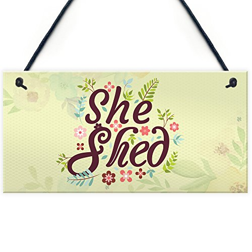 XLD Store She Shed Garden Sign Gift for Her Woman Cave Mum Sister Friendship Home Plaque