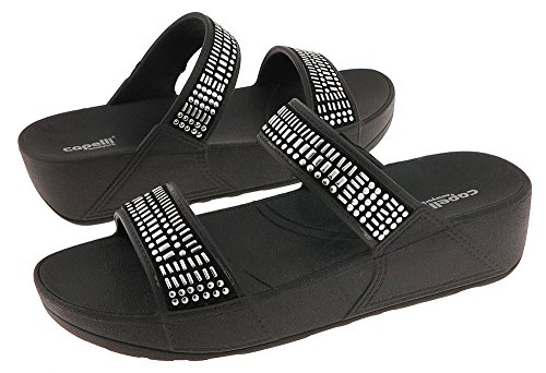 Capelli New York Faux Cuir Double Sangle Diapositive Dames Flip Flop Combo Noir
