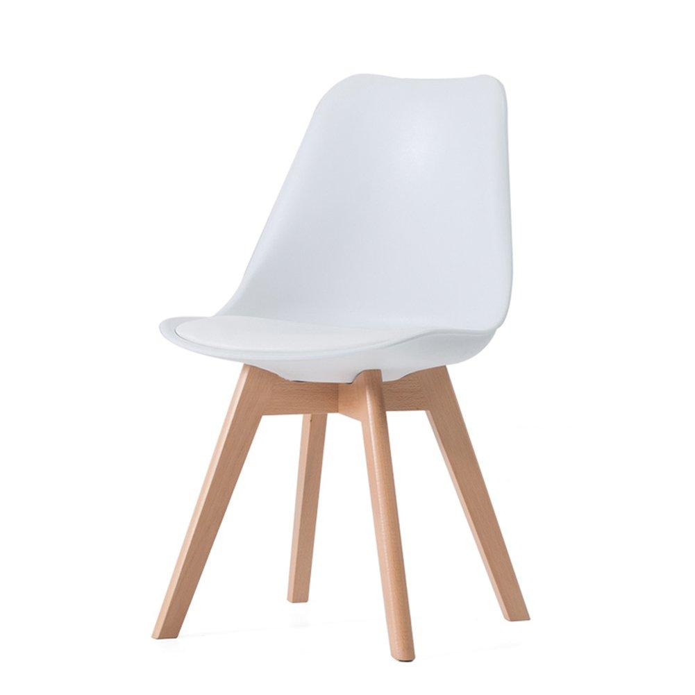 木製ダイニングチェアアダルトオフィス家庭用カフェビストロ商業用背もたれカジュアルシンプルチェア (色 : 白, サイズ さいず : Set of 1) B07F29XJL7 Set of 1 白 白 Set of 1
