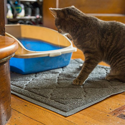 Easyology Extra Large 35'' x 23'' Cat Litter Mat, Traps Messes, Easy Clean, Durable, Non Toxic - LIGHT GREY by Easyology (Image #5)