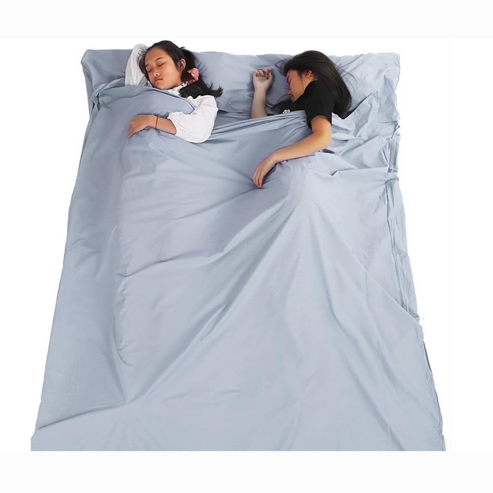 MIAO al aire libre casa Camping 2 personas Portable Ultraligero Viajes sucia algodón saco de dormir, azul: Amazon.es: Deportes y aire libre