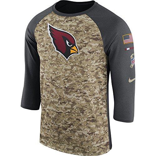 Nike Men's Arizona Cardinals Dry Tee Legend 3/4 STS Raglan Shirt Anthracite/Camo/White Size Large