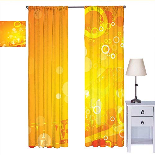 RenteriaDecor Orange Kitchen Curtain Abstract Composition with Circles Dots Artistic Energetic Colors Sunburst Curtain Valance Orange Yellow White W72 x L96 (Dot Circle Valance)