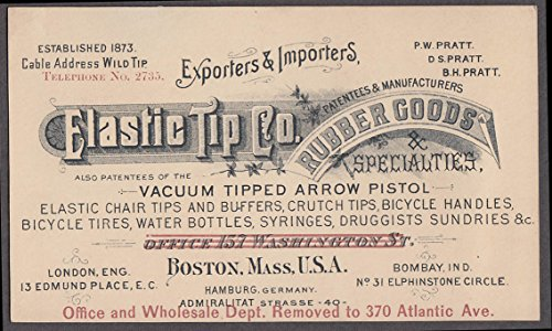 Elastic Tip Rubber Goods Arrow Pistol Bicycle Tires Syringes card Boston c 1890s