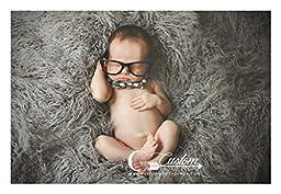 Hypoallergenic & Washable Ash Gray Long Sheep Faux Flokati Basket Stuffer Blanket Fur Newborn Photo Props, Artificial Fur, Newborn Baby Photography Props, Baby Boy