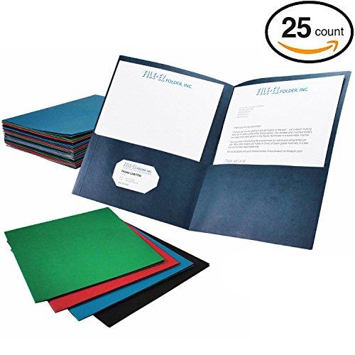 FILE-EZ Two-Pocket Folders, Assorted Colors, 25-Pack, Textured Paper, Letter Size (Pocket Folder Letter)