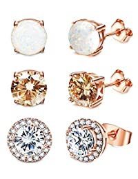 Epinki Gold Plated Womens Stud Earring White 3-Prong Cubic Zirconia Bicycle Oval Channel