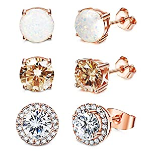 Jstyle Stud Earrings for Women 18K White Gold Rose Plated CZ Halo Earrings Created Opal Earrings Set for Sensitive Ears…
