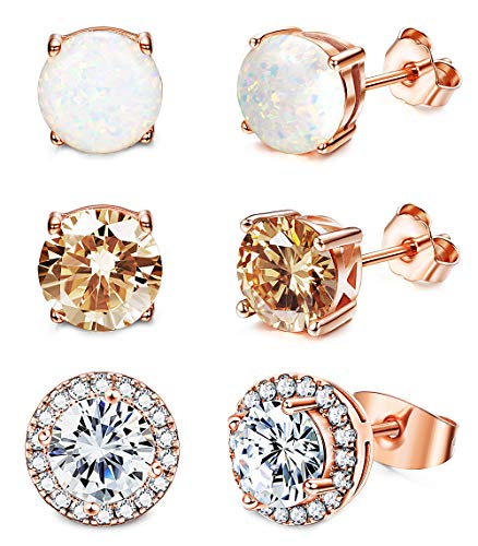 Fleur Rouge - Jstyle Stud Earrings for Women 18K White Gold Rose Plated CZ Halo Earrings Created Opal Earrings Set for Sensitive Ears with Gift Box