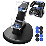 PS4 Controller Charger, Dreamore PS4/PS4 Slim DualShock 4 Controller Charger Dock with Dual Charging Station & LED indicator - USB Cable & Thrumb Grips for Joysticks Included