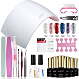 Azure Beauty Gel Nail Polish Starter Kit Glitter Color Set with 24W UV Light Nail Dryer