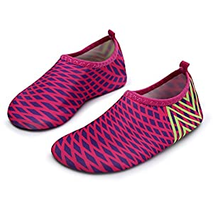 L-RUN Beach Shoes for Toddlers Flexible Slip-on Aqua Rose Red US 3-4=EU 18-19