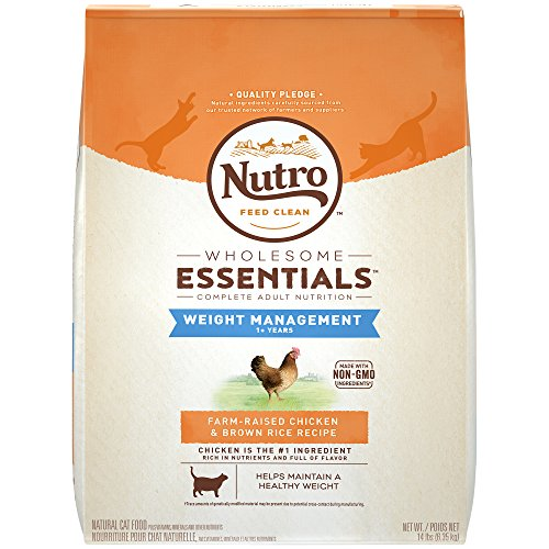 NUTRO WHOLESOME ESSENTIALS Weight Management Farm-Raised Chicken & Brown Rice Recipe Dry Cat Food, Rich in Nutrients and Full of Flavor; Supports Healthy Skin and Coat; Helps Maintain a Healthy Weight