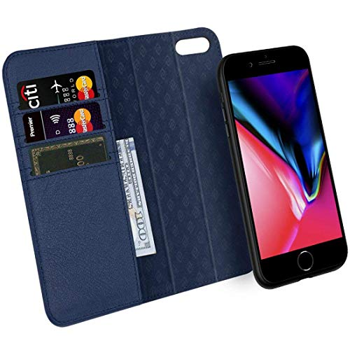 (iPhone 7 8 Plus Wallet Case ZOVER Detachable Genuine Leather Luxury Series Support Wireless Charging Magnetic Car Mount Holder Kickstand Feature Card Slots Magnetic Closure Gift Box Navy)