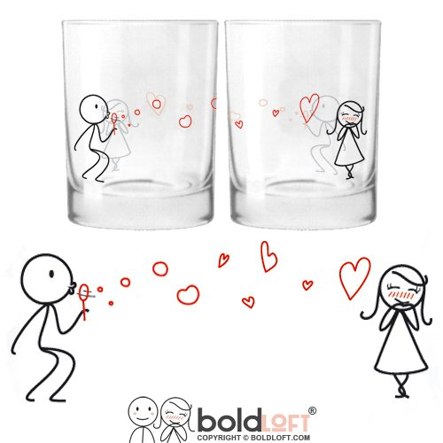 BOLDLOFT From My Heart to Yours His & Hers Drinking Glasses-Valentines Day Gifts for Her,Girlfriend Gifts,Gifts for Wife,Gifts for Couples,Valentines Gifts for Girlfriend,Anniversary Gifts for Her