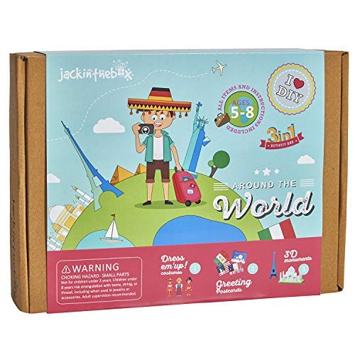 jackinthebox Educational Craft Kit for Kids - Around The World Themed 3 Activities-in-1 Gift for Boys and Girls Ages 5-8 Learning Stem Toys (3-in-1)
