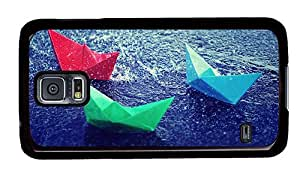 Hipster Samsung Galaxy S5 Case sparkly Paper Boats Rain PC Black for Samsung S5