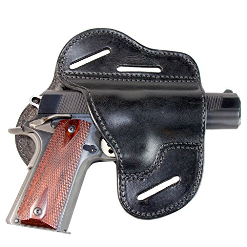 Relentless Tactical The Ultimate Leather Gun Holster | 3 Slot Pancake Style Belt Holster | Handmade in The USA! | Fits All 1911 Style Handguns Black Right Handed