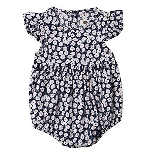 Newborn Baby Girl Romper Floral Print Vintage Jumpsuit Outfit Playsuit Clothes (C, 100 ()