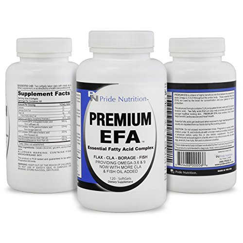 #1 Burpless Fish Oil Omega 3 6 9 EFA with EPA DHA CLA GLA Flax & Borage- More Than Just Fish Oil- Premium EFA 120 Pills- Essential Fatty Acids Supplement for Weight Loss Heart Health & Joint Relief