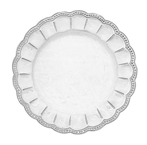 Christmas Tablescape Décor - White Bella Bianca Beaded Charger Plate by Arte Italica