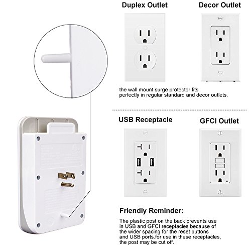 KMC 3-Outlet Wall Mount Surge Protector with 4 USB Charging Ports (4.8 AMP) by KMC (Image #7)