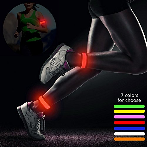 (2 Pack of LED Slap Bracelet,Sweat Proof,Ultra Bright,Glow Armband Light Up Slap Bracelets Night Safety Wrist Band for Running Walking,Concert Camping Outdoor Sports)