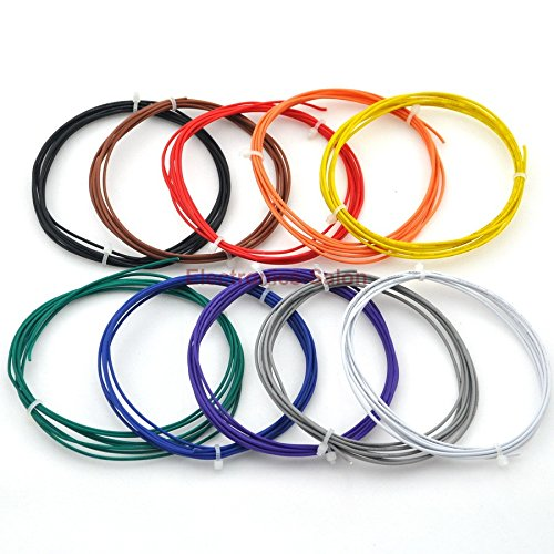 Electronics-Salon 24AWG UL-1007 Stranded Wire Assortment Kit each Color 6.5 feet. Black Brown Red Orange Yellow Green Blue Purple Gray White 10 Colors